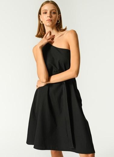 NGSTYLE Kadın Tek Omuz Poplin Elbise NGKSS21EL0059 Siyah